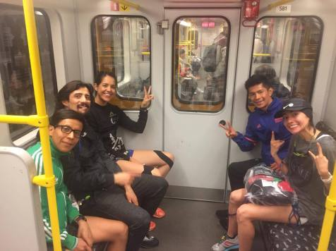 En el metro.